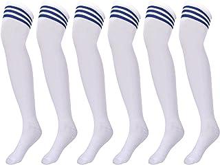 3 Pares de Calcetines de Tubo Calcetines de Animadoras Calcetines Altos hasta Rodilla para Accesorios de Animadoras de Deporte Baile Calcetines de Cosplay