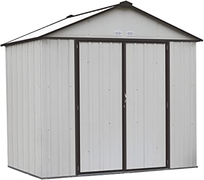 Arrow EZEE Shed High Gable Steel Storage Shed, Cream/Charcoal Trim, 8 x 7 ft.