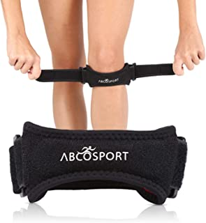 Abco Tech Patella Knee Strap for Knee Pain Relief - Knee Brace for Running, Hiking, Soccer, Basketball, Volleyball & Squats (1 Piece)