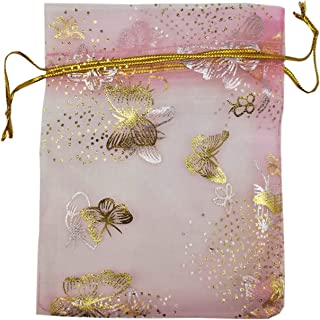 SUNGULF 100pcs Organza Pouch Bag Drawstring 4x5 Inch Strong Gift Candy Bags Jewelry Party Wedding Favor (Pink Butterfly)