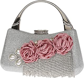 Lovoski 1 Piece Evening Clutch Bag Women's Satin Flower Pearl Beaded Evening Handbag