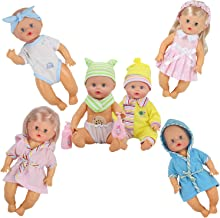 Young Buds Pack of 6 for 9-10-11 Inch Alive Baby Doll Reborn Newborn Clothes with Bathing Suit Bottle (Bath Set)
