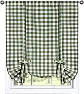 GoodGram Buffalo Check Plaid Gingham Custom Fit Farmhouse Window Curtain Tie Up Shades - Assorted Colors (Sage)