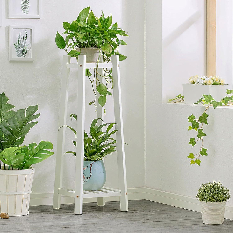 BJLWT Wooden Flower Shelf Indoor Living Room Corner Ground Multi-Layer Flower Pot Rack Plant Stand,Plant Flower Stand (color   White, Size   30CM30CM90CM)
