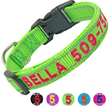 Didog Personalized Embroidered Dog Collar with Pet Name & Phone Number, Reflective Custom Dog Collar for Small Medium Large Dogs