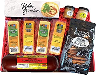 Specialty Gift Basket - features Smoked Summer Sausages, 100% Wisconsin Cheeses, Crackers, Pretzels & Mustard. Best Christ...