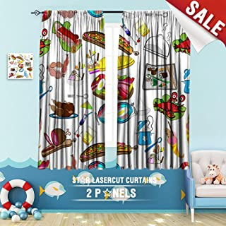 Big datastore home Kids Curtain, Background Bacon bar Beef Beverage Breakfast Cancer Carton Chicken Chinese Chinese 63 x 63 inch Room Darkening Blackout Drapes