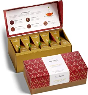 Tea Forte Presentation Box Presentation Box Tea Sampler Gift Set, 20 Assorted Variety Handcrafted Pyramid Tea Infuser Bags...