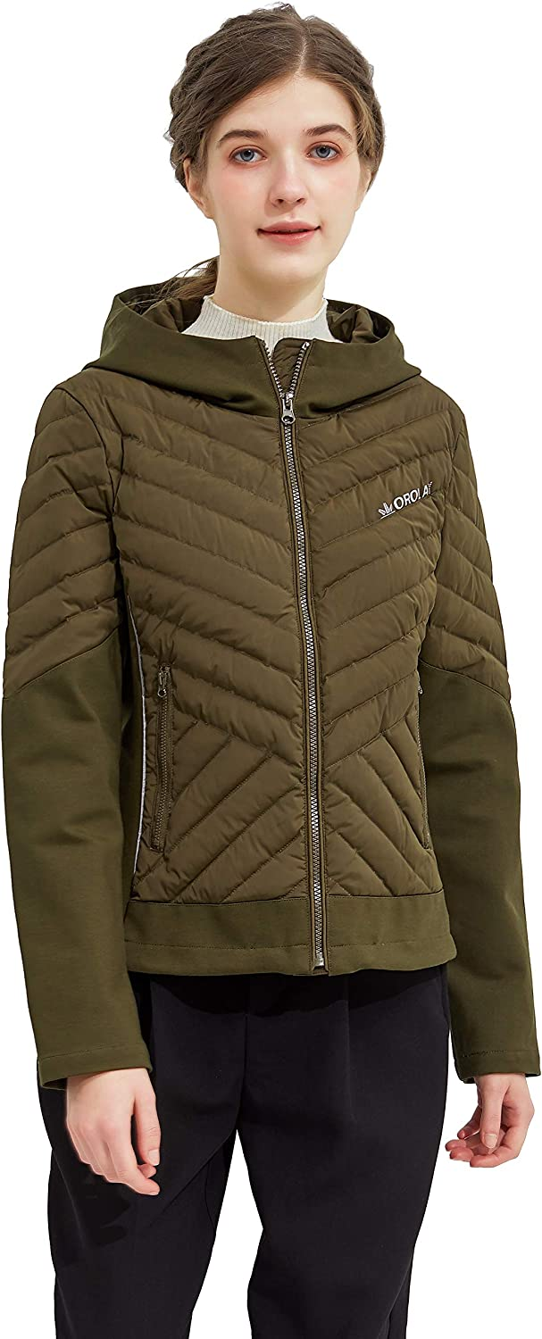 Orolay Women's Light Down Jacket Packable Winter Coat Hooded Cropped Puffer Jacket