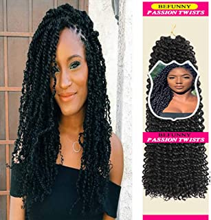 14 Inch Passion Twist Hair 6 Packs Water Wave Curly Crochet Hair Short Black Bohemian Braiding Hair For Crochet Passion Twists Crochet Braids Hot Water Setting,Itch Free Synthetic Hair Extensions 1B#