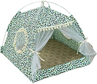 Beans Seven Portable Foldable Pet Dog Tent House Breathable Print Pet Cat House with Net Outdoor Indoor Mesh Cat Small Dog Tent House
