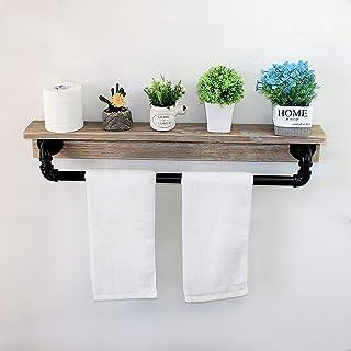 MBQQ 工業用素朴な壁棚 タオルバー付き 30インチ ファームハウス タオルラック バスルーム用