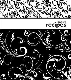 Brownlow Gifts Fichário com protetores de página de plástico e cartões de receita, 20 x 23 cm, preto e branco