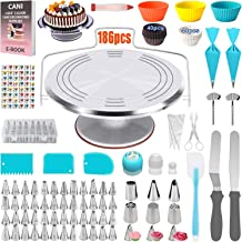 186 Pcs Cake Decorating Supplies-kit with Metal Cake Turntable 57 Numbered Piping Tips with Pattern Chart,Cake Decorating ...