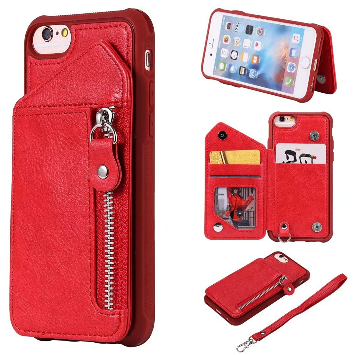 Ranyi iPhone 6S Case, iPhone 6 Case, Zipper Magnetic Wallet Back Cover [Card Slots] [Kickstand Feature] [Hand Strap] Shock Absorbing Leather Flip Folio Wallet Case for Apple iPhone 6S/6 (red)