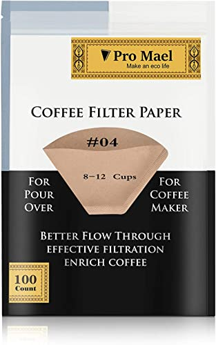 #4 Cone Coffee Filters Paper Disposable for Pour Over and Drip Coffee Maker 100 Count, Better Filtration No Blowouts ...