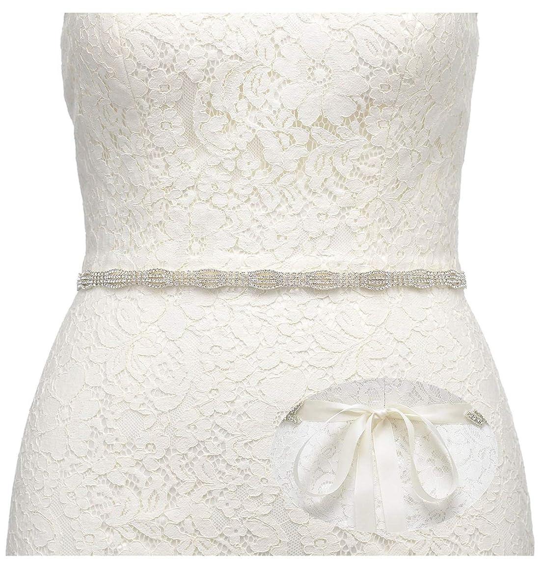 SWEETV Rhinestone Bridal Belt Wedding Dress Belt Crystal Headband Bride Bridesmaids Sash Belt, Silver