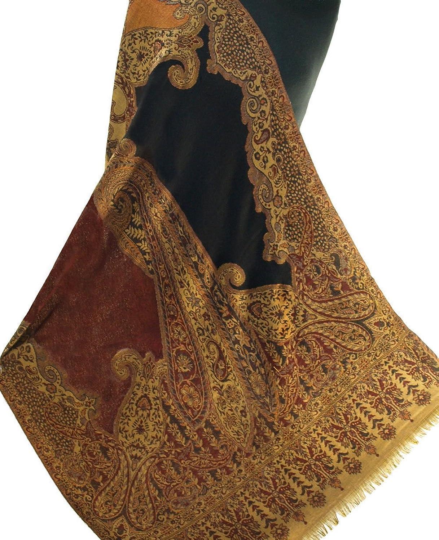Black & Burgundy Jamawar Paisely Pashmina Stole Wool Jamawar India 80x28