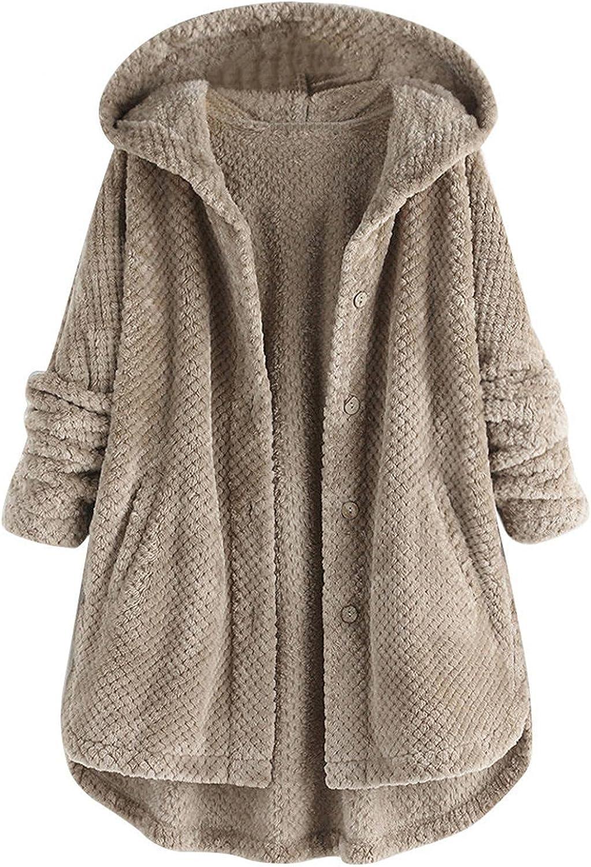 Women's Double-Sided Faux Fleece Coat Outwear Plus Size Irregular Long Sleeve Button Pocket Hooded Coat Jacket Overcoat
