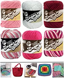 Variety Assortment Lily Sugar'n Cream Yarn 100% Cotton Solids and Ombres (6-Pack) Medium #4 Worsted Bundle Includes 5 Lily...