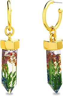 Steve Madden Yellow Gold Plated Encapsulated Multi Color Flower Crystal Resin Dangle Hoop Earrings for Women
