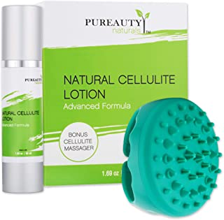 Cellulite Cream with Massager - Anti Cellulite Body Lotion Helps with Firming and Tightening For Skin, Body, Thighs, Hips, Buttocks - Natural Essential Oils, Vitamin E - Pureauty Naturals - 50ml