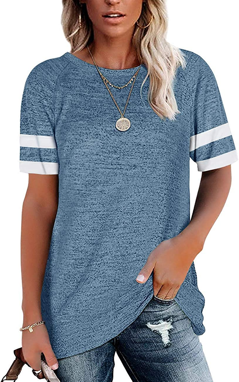 favorite Womens T Shirts New mail order Short Sleeve Tunic Loose Crewneck Color Tops Blo
