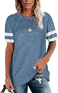 Womens Short Sleeve T Shirts Summer Color Block Tunic...