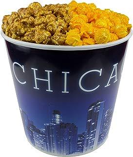 Signature Popcorn - Gourmet Popcorn - 1-Gallon Blue Chicago Skyline Reusable Plastic Tin, 2-flavors - Half Caramel and Half Cheddar Cheese