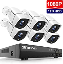 SMONET 1080P Security Camera System,8-Channel Outdoor/Indoor Surveillance System(1TB Hard Drive),6pcs 1080P(2.0MP) Security Cameras,65ft Night Vision,P2P, Free APP,Easy Remote View