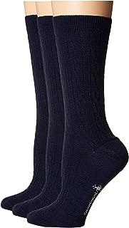 Women's Cable Sock - Merino Wool Performance Crew Socks 3 Pair Multi Pack