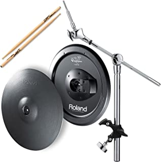 Roland CY-15R V-Cymbal Ride w/ MDY-12 Hatched Mount & Zildjian Trigger Wood Anti-Vibe Drumsticks - Bundle
