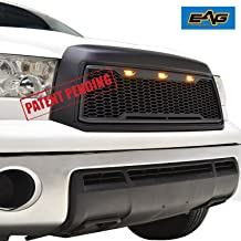 EAG Replacement Upper Grille Front Grill with Amber LED Lights Fit for 10-13 Toyota Tundra - Matte Black