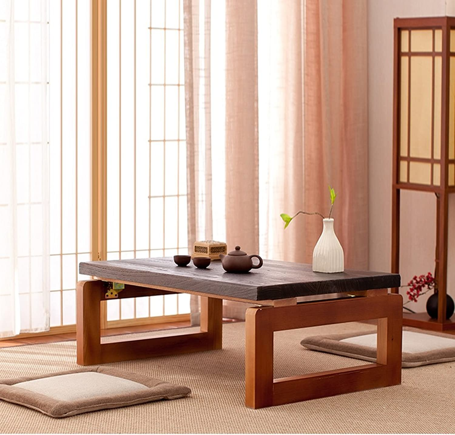 LXYFMS Solid Wood Tatami Table Tatami Coffee Table Floating Window Table Night Tatami Table Tatami Tea Table Floating Wooden Table Frame Folding Table (color    2, Size   60  40  30CM)