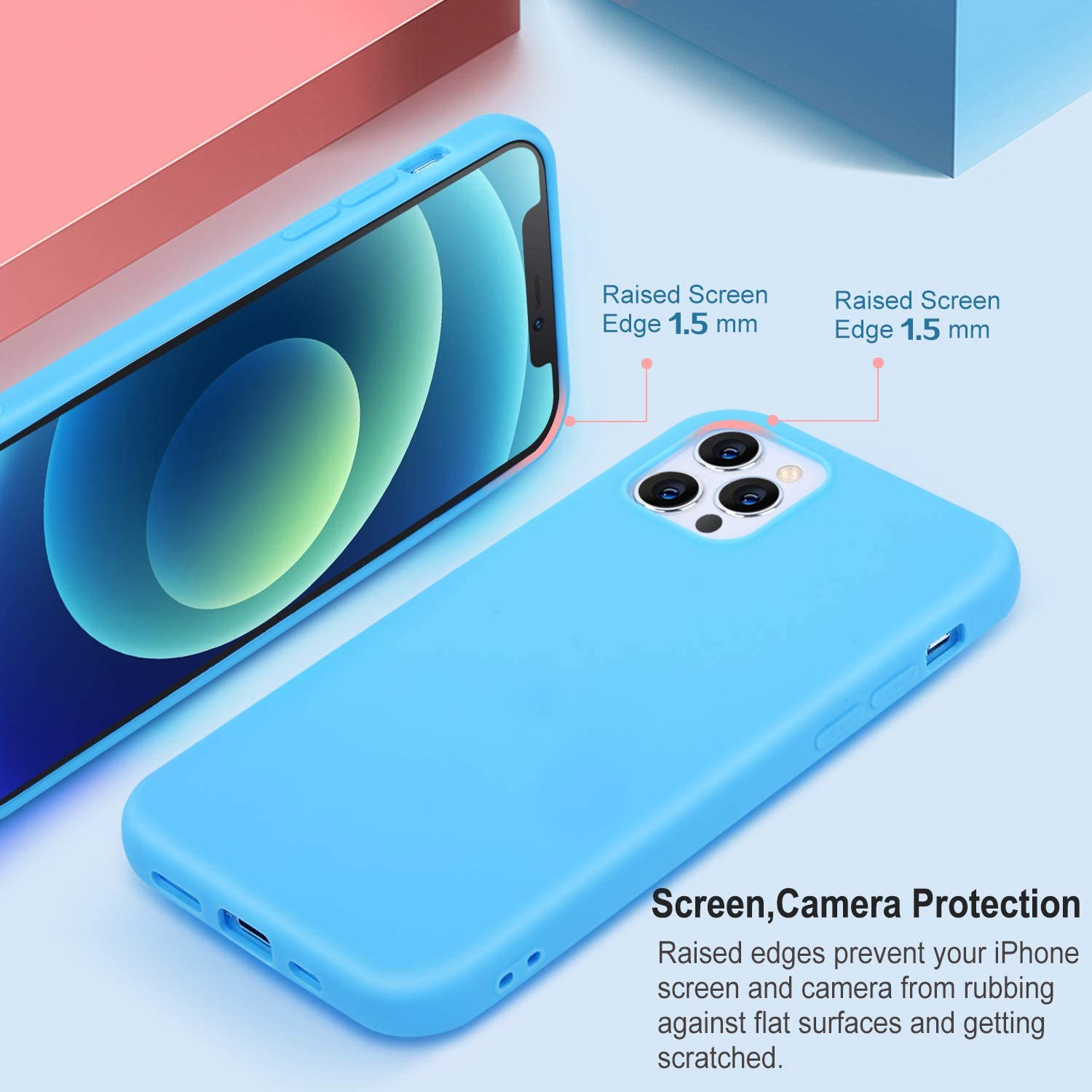 Pofesun 5 Pack Silicone Case Compatible with iPhone 12/iPhone 12 Pro, Slim Gel Rubber Full Body Protection Shockproof Case Cover for iPhone 12/iPhone 12 Pro 6.1 inch-White,Blue,Pink,Purple,Mint Green