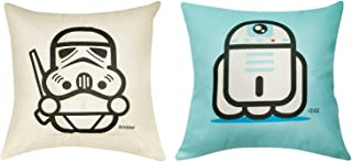 Star Wars Decorative Throw Pillow Covers Pillow Cases 18 x 18 Inches Set of 2 (Blue and White)