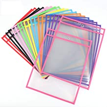 Lawei 30 Pack Dry Erase Pockets Sheet Protectors - 10 x 14 Inch Reusable Oversized Clear Plastic Reusable Sleeves Classroo...