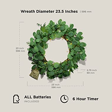 Eucalyptus Wreath with Lights - 23 Inch, Battery Operated, 80 LED Lights, Artificial Leaves with Seeded Flowers, Green Velvet