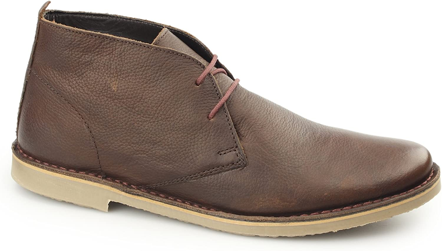 Ikon LUGER Mens Oil Pull Up Leather Desert Boots Brown