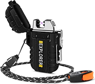 Green Vivid Waterproof Flameless Electric Lighter-Dual Arc Plasma Beam Lighter/USB rechargeable/Windproof/No Butane/Para-tinder Lanyard & Emergency Whistle/Ideal Lighter for Indoor and Outdoor (Black)