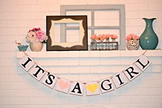 Its a Girl Chipboard Baby Shower Banner, Customizable It's a Girl Chipboard Banner, Baby Shower Decorations, Pink and Yellow
