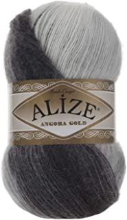 20% Wool 80% Acrylic Soft Yarn Alize Angora Gold Batik Thread Crochet Lace Hand Knitting Turkish Yarn Lot of 4skn 400gr 2408yds Color Gradient 1900