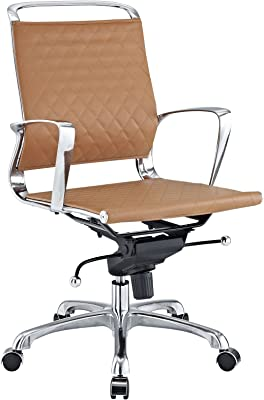 Modway Vibe Mid Back Leather Office Chair in Tan