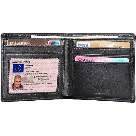 Hoobest RFID Blocking Genuine Leather Wallet , Men Slim Wallets with Latest RFID Block Technology,Stop Electronic Pick Pocketing-RFID Blocking Wallet