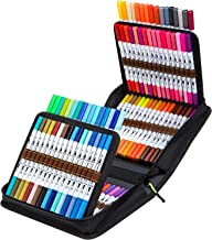 100 Colors Dual Tips Markers Set, Ohuhu Art Coloring Brush Fineliner Color Marker Pens, Water Based Marker for Calligraphy...