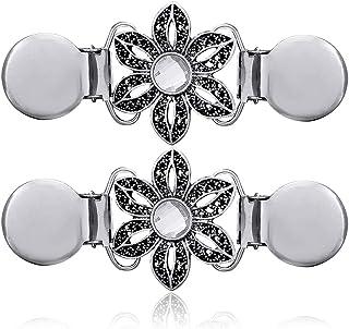 CAREOR - Set di 2 clip da scialle per maglione in argento, stile retrò, per cardigan e collari, con motivo floreale, per a...