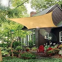 Outdoor Sun Shade Sail Canopy, 10' x 14' Rectangle Shade Cloth Patios Cover - UV Block Sunshade Fabric Awning Shelter for Pergola Backyard Garden Lawn (Sand)