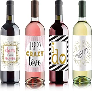 Wine Bottle Labels for Bridal Shower Gift, Bachelorette Party Gift, Engagement Party Gift (Set of 4)