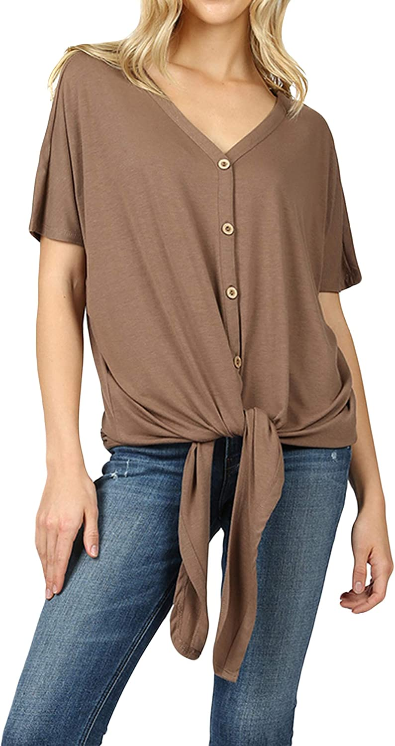 Women Short Sleeve V Neck Button Down T Shirts Tie Front Knot Loose Blouse Casual Tops
