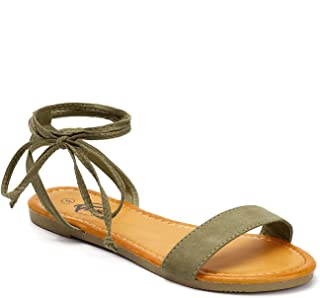 Lace Up Ankle Strap Summer Open Toe Flat Sandals for Women